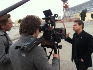 2/5/13 with Martijn and Hans working on the VPRO Dutch public TV Backlight documentary series interviewing Peter Diamandis, co-founder of Singularity University